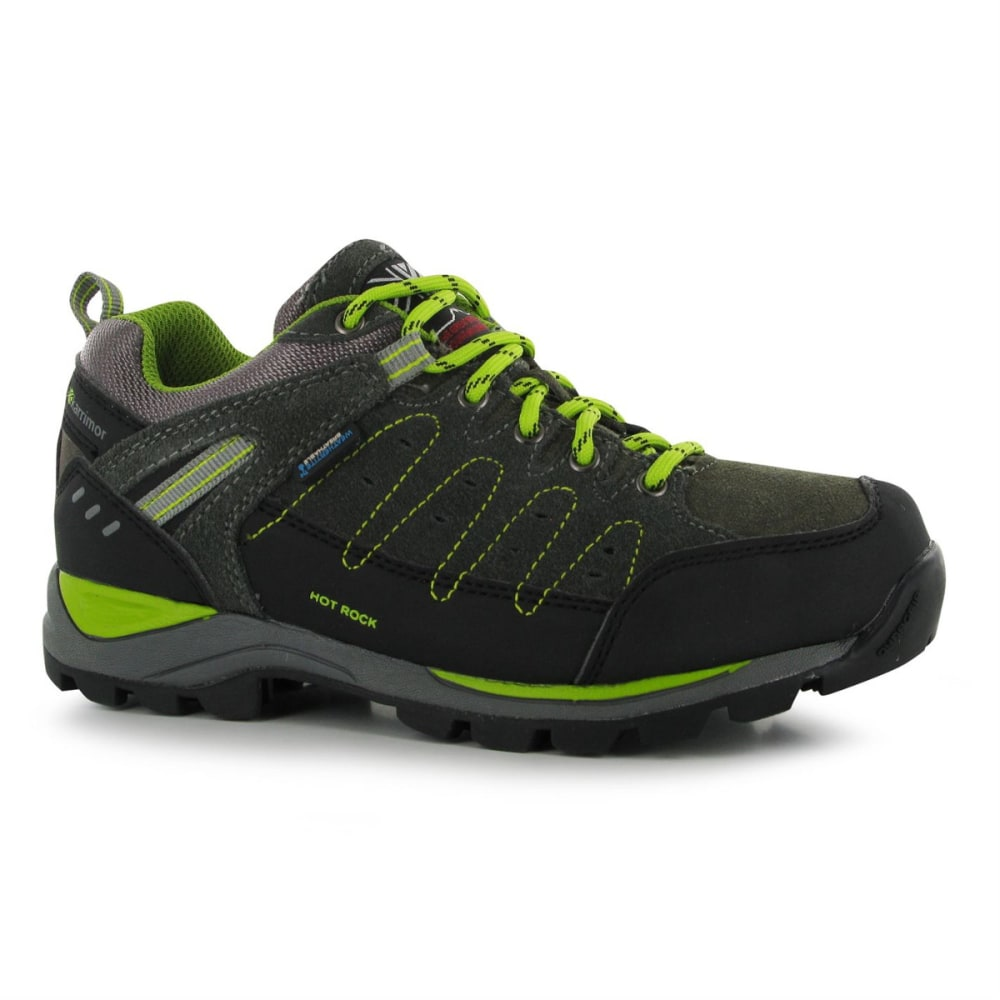 KARRIMOR Big Kids' Hot Rock Waterproof Low Hiking Shoes - CHARCOAL/GREEN