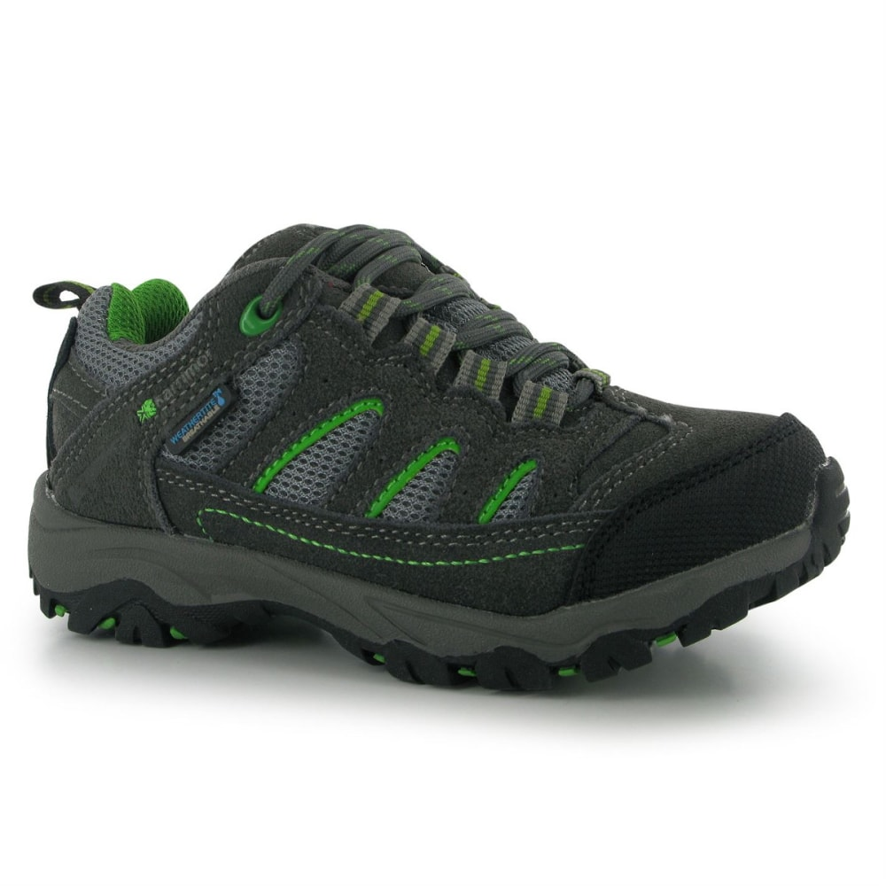 KARRIMOR Kids' Mount Low Waterproof Hiking Shoes - CHARCOAL/GREEN