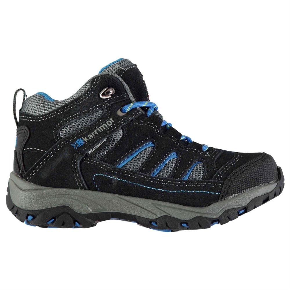 KARRIMOR Kids' Mount Mid Waterproof Hiking Boots - CHARCOAL/BLUE