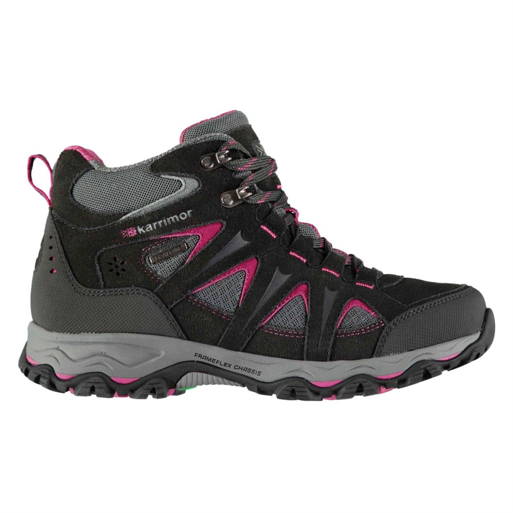 KARRIMOR Women's Mount Mid Waterproof Hiking Boots - BLACK/PINK