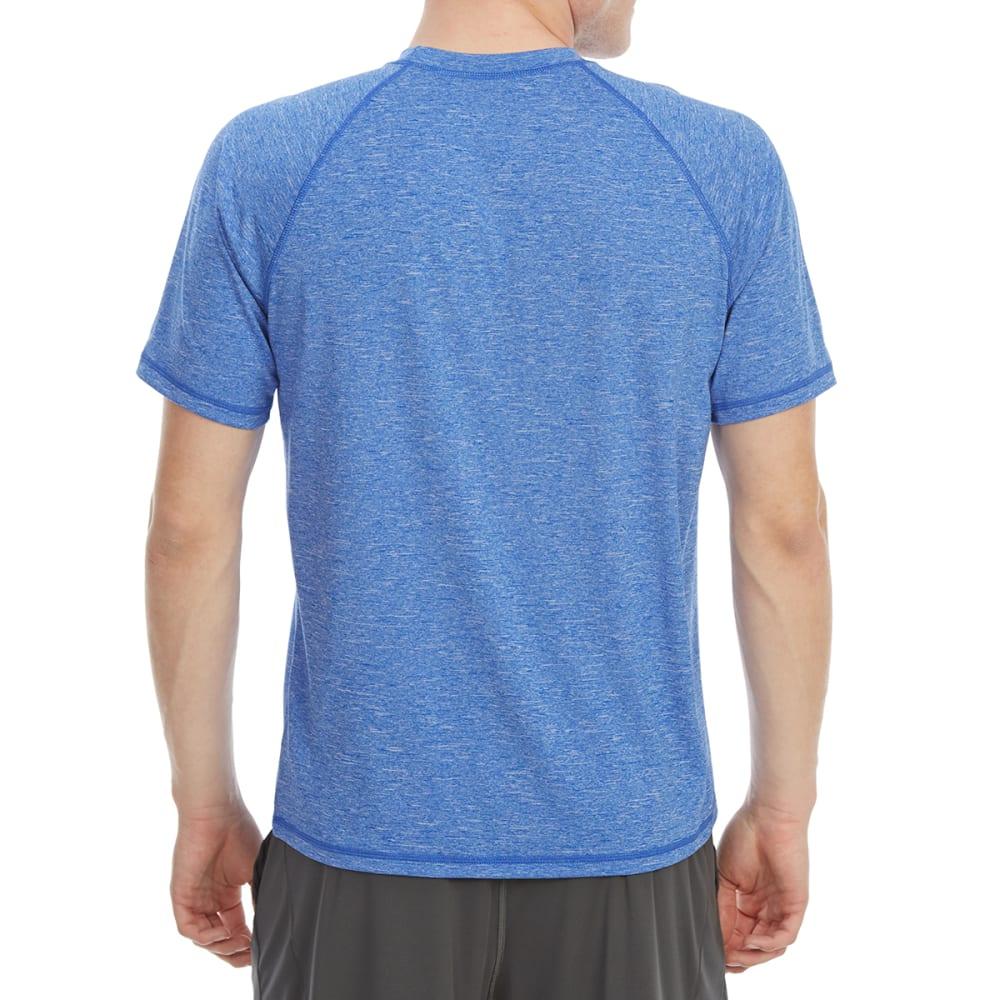 NIKE Men's Heathered Hydro Short-Sleeve Rash Guard - BLUE-416