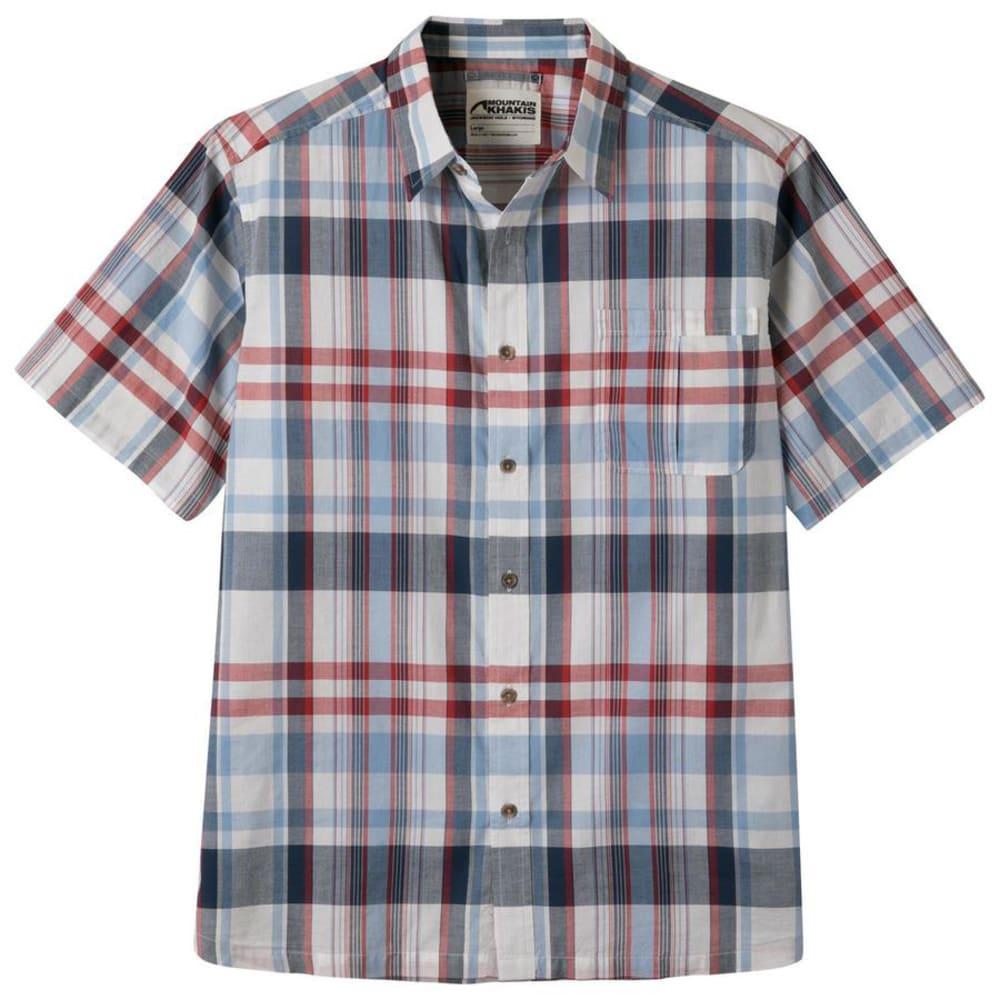 Mountain Khakis Men's Tomahawk Madras Short-Sleeve Shirt – Blue – Size L