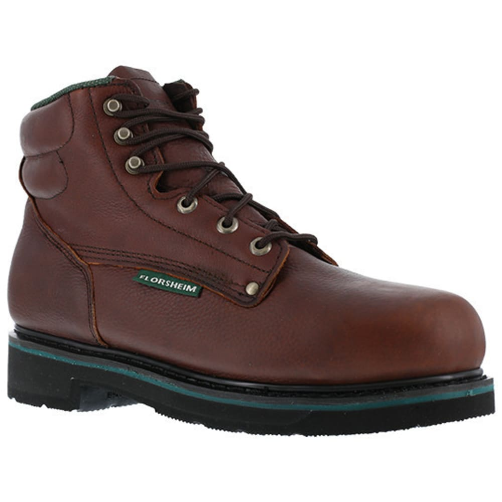 "FLORSHEIM WORK Men's Utility Steel Toe Plain Toe 6"" Classic Boot - BROWN"
