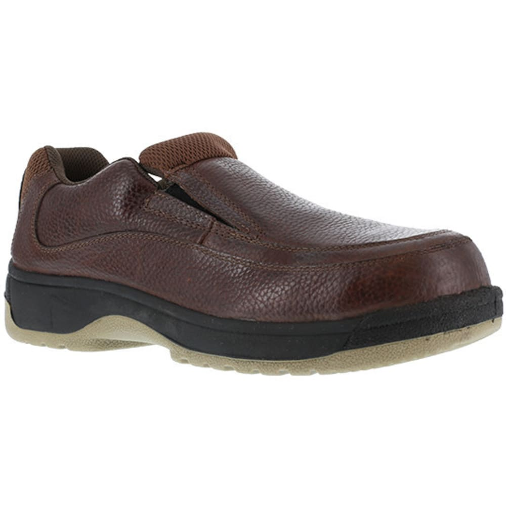 FLORSHEIM WORK Men's Lucky Steel Toe Eurocasual Slip On Shoe, Dark Brown 6