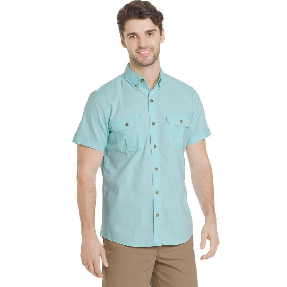 G.H. BASS & CO. Men's Salt Cove Pigment Solid Short-Sleeve Shirt - AQUA SPLASH-489