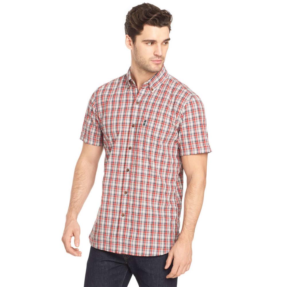 G.H. BASS & CO. Men's Summit Creek Seersucker Small Plaid Short-Sleeve Shirt - MOLTEN LAVA-643