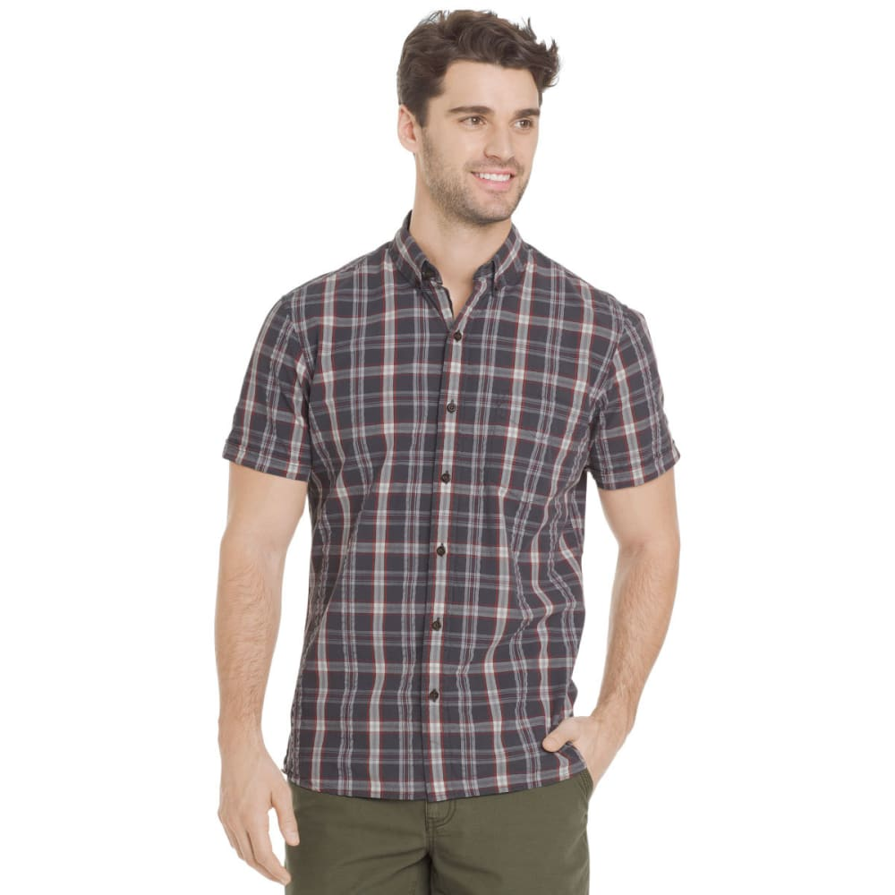 G.H. BASS & CO. Men's Summit Creek Seersucker Medium Plaid Short-Sleeve Shirt - BLACKENED PEARL-016