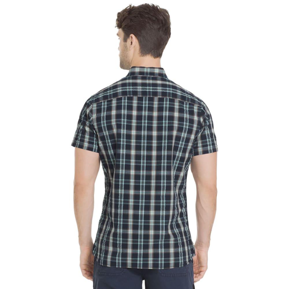 G.H. BASS & CO. Men's Summit Creek Seersucker Medium Plaid Short-Sleeve Shirt - MOOD INDIGO-445