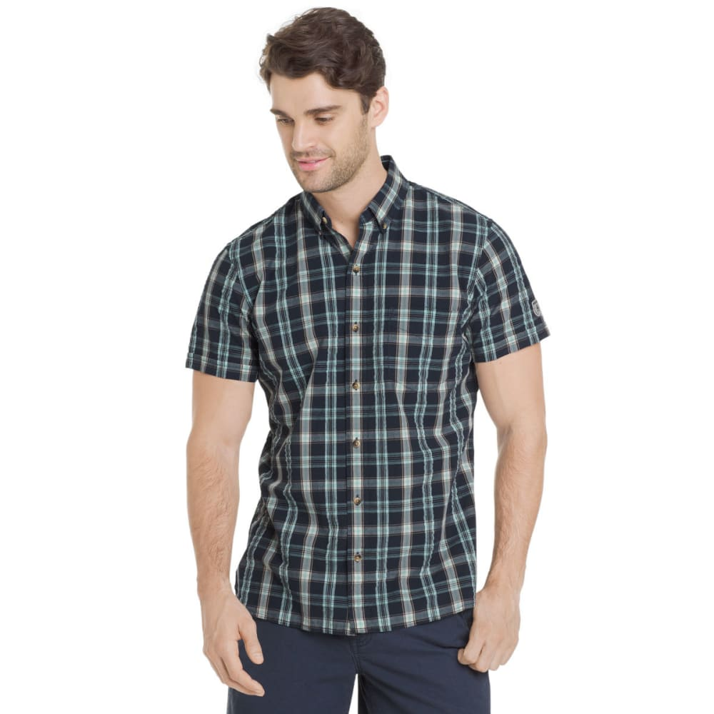 G.H. BASS & CO. Men's Summit Creek Seersucker Medium Plaid Short-Sleeve Shirt - MOOD INDIGO-445