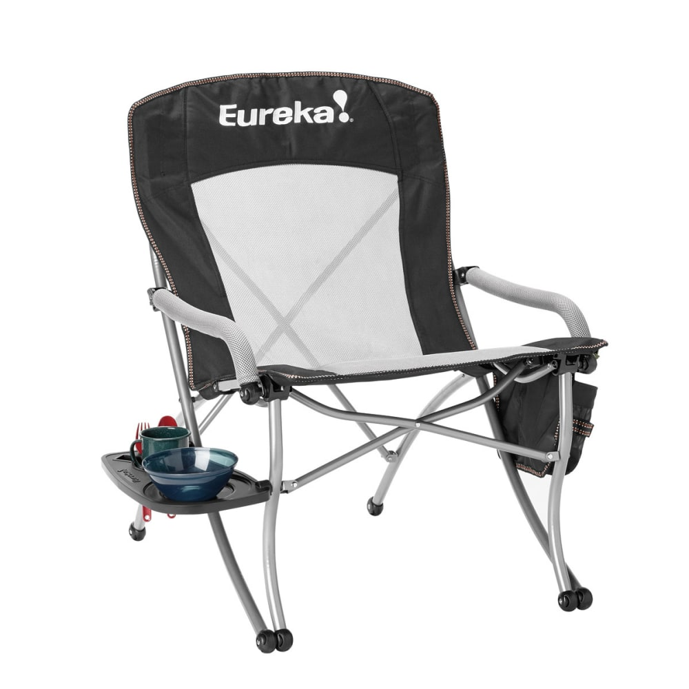 EUREKA Curvy Chair with Side Table - BLACK/SILVER