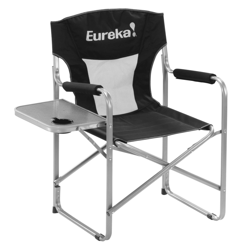 EUREKA Directors Chair with Side Table - BLACK/SILVER
