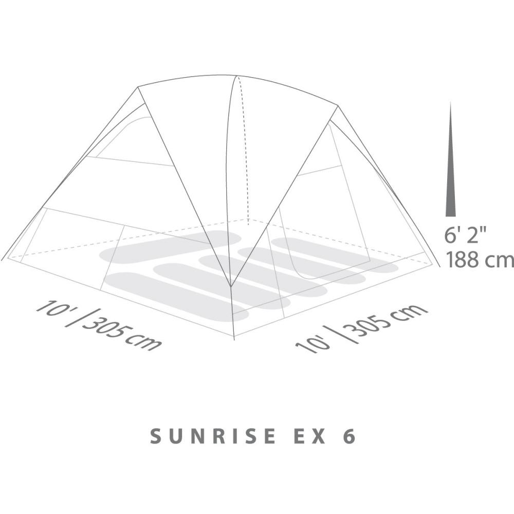 EUREKA Sunrise EX 6 Person Tent - CEMENT/JAVA/ORG