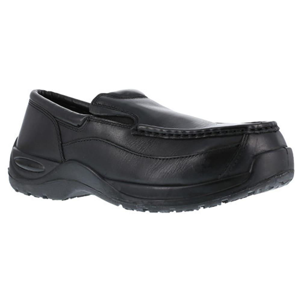 FLORSHEIM WORK Men's Ace Composite Toe Casual Moc Twin Gore Slip On Shoe, Black - BLACK