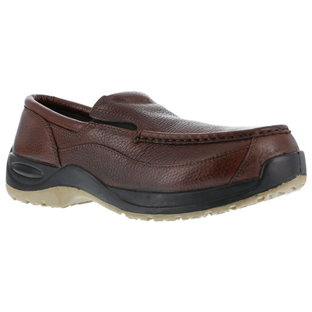 FLORSHEIM WORK Men's Ace Composite Toe Casual Moc Twin Gore Slip On Shoe, Brown - BROWN