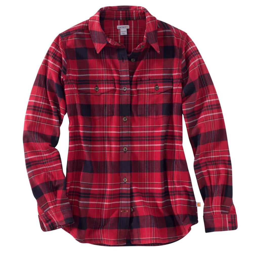 CARHARTT Women's Rugged Flex Hamilton Long Sleeve Shirt - DARK CRIMSON-608