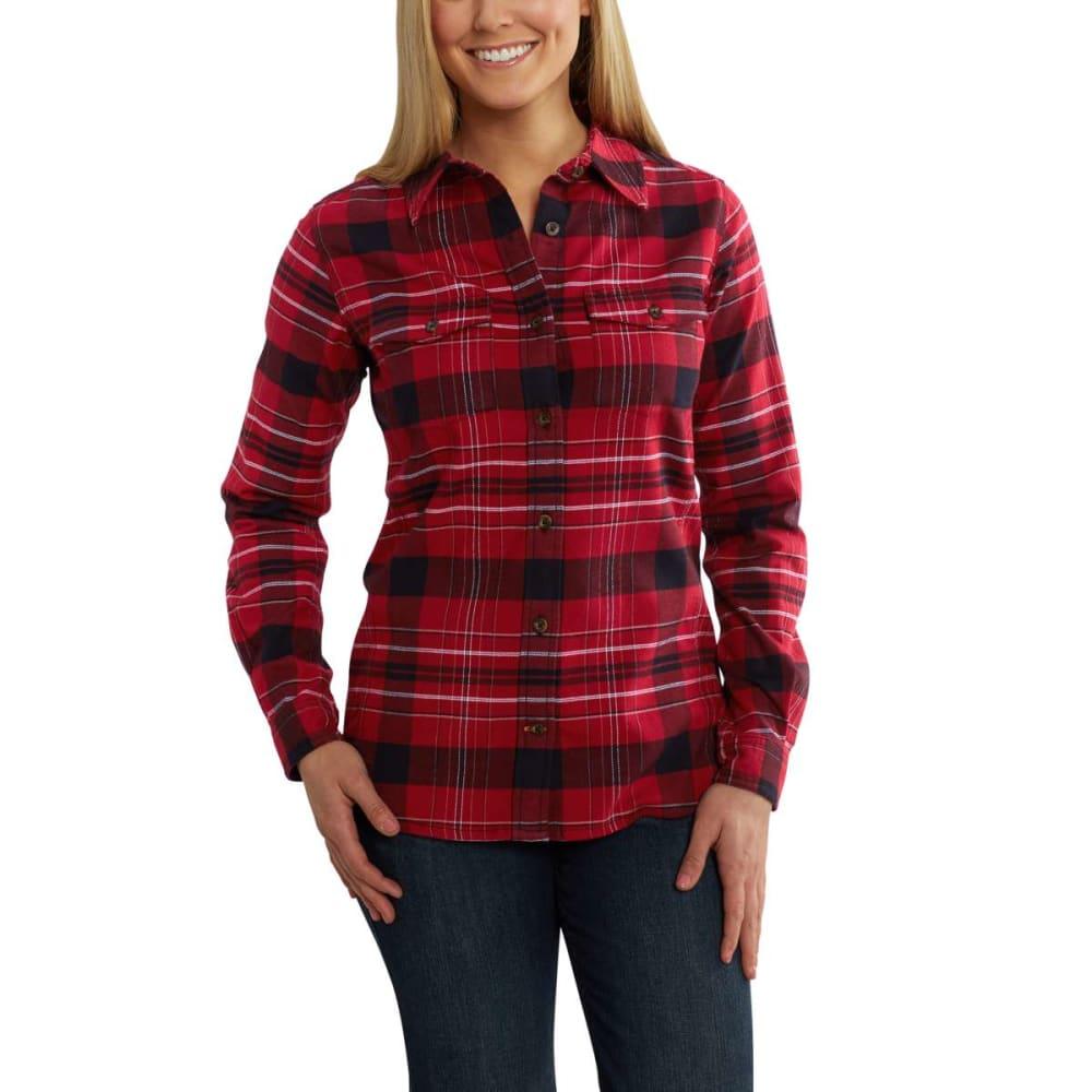 CARHARTT Women's Rugged Flex Hamilton Long Sleeve Shirt - DARK CRIMSON-608