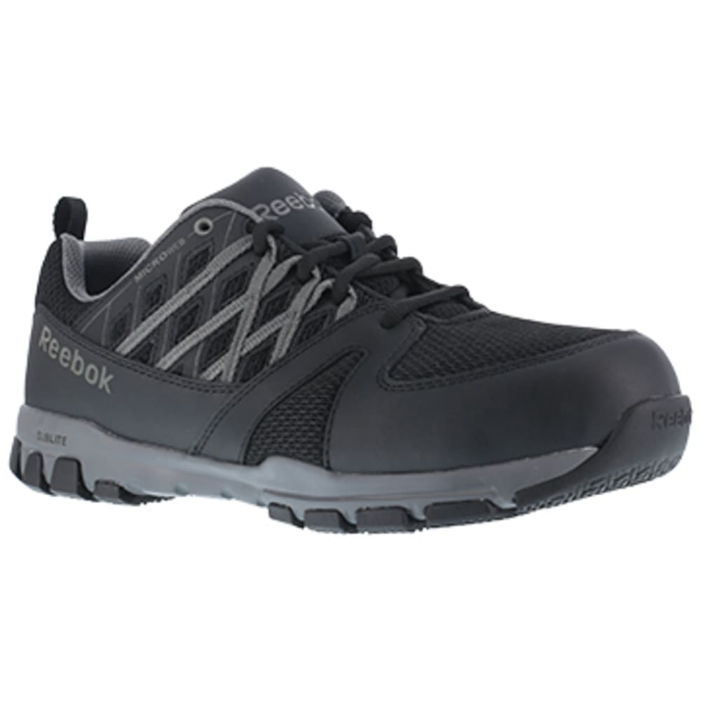 REEBOK WORK Men's Sublite Work Soft Toe Athletic Oxford Sneaker, Black/Grey 6