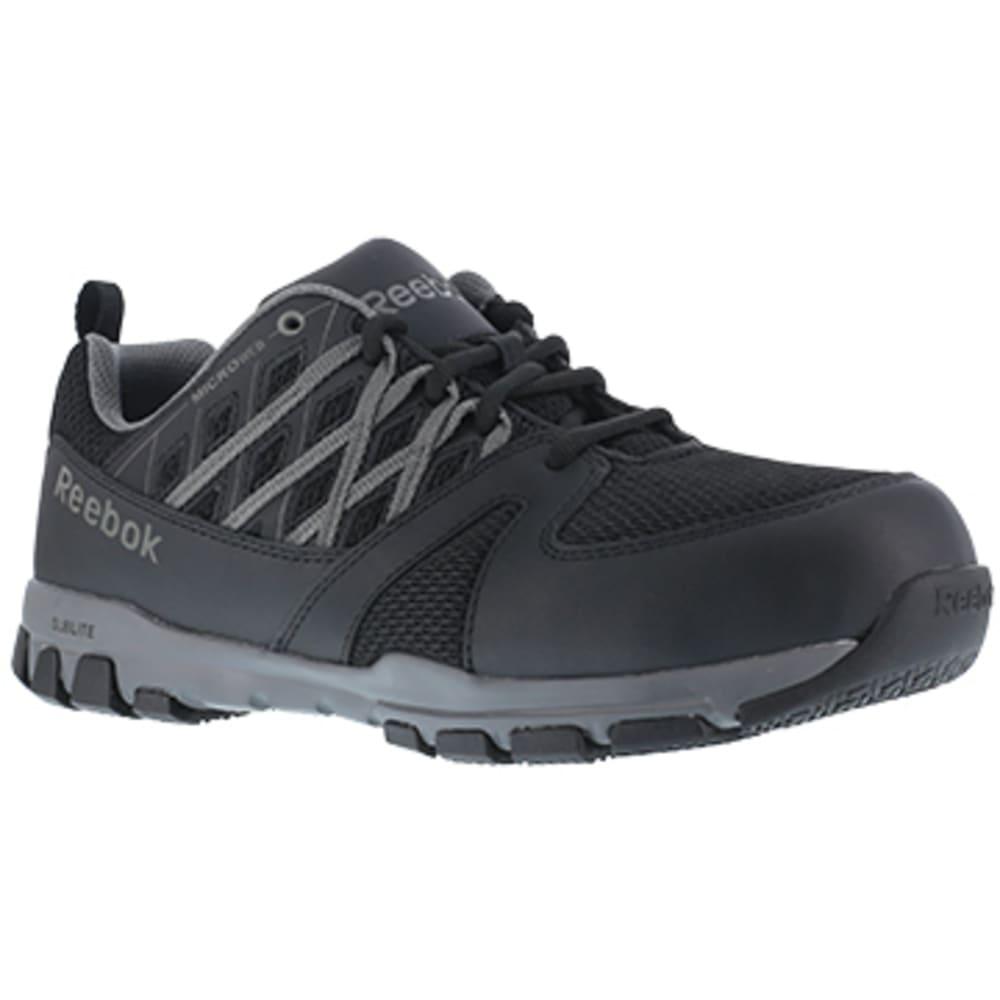 REEBOK WORK Men's Sublite Work Steel Toe Athletic Oxford Sneaker, Black/Grey 6