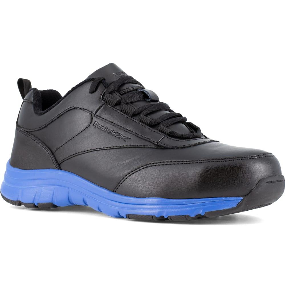 REEBOK WORK Men's Ateron Steel Toe Performance Cross Trainer Sneaker, Black/Blue - BLACK WITH BLUE TRIM