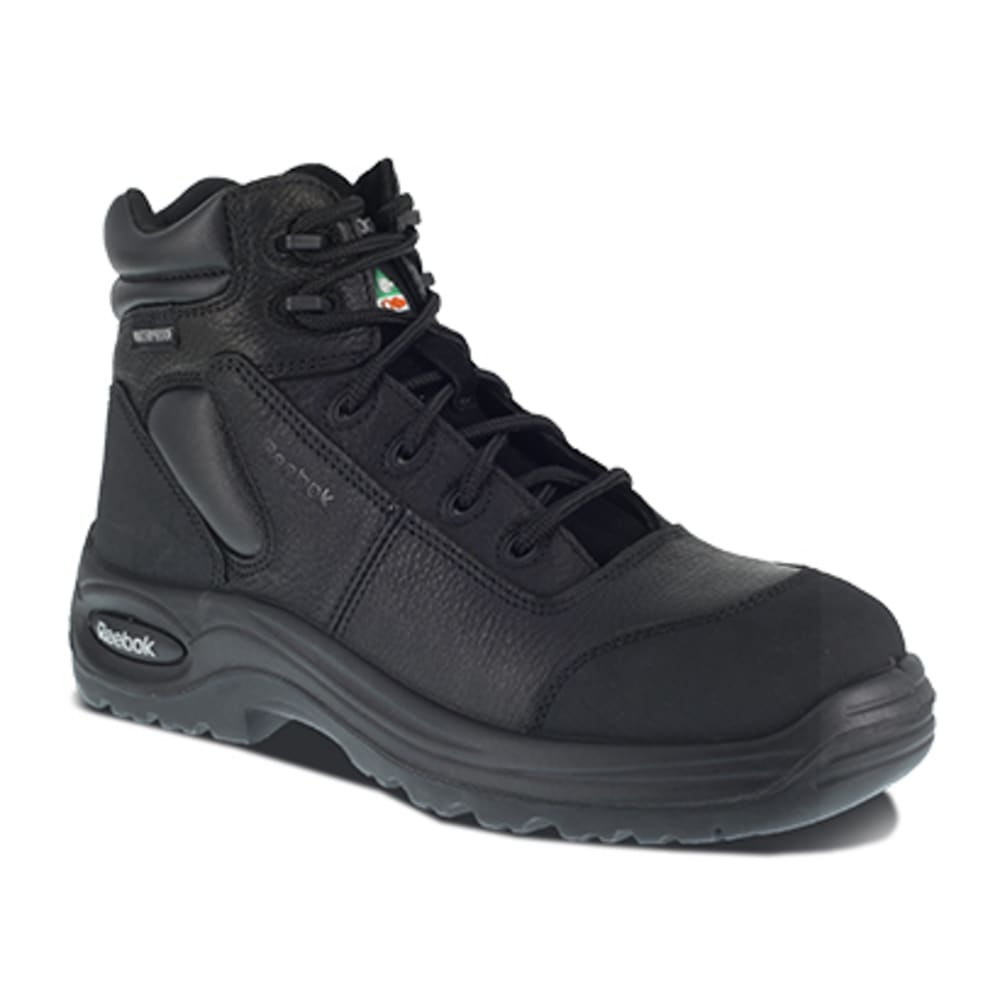 "REEBOK WORK Men's Trainex Composite Toe 6"" Waterproof Puncture Resist Sport Boot, Black - BLACK"