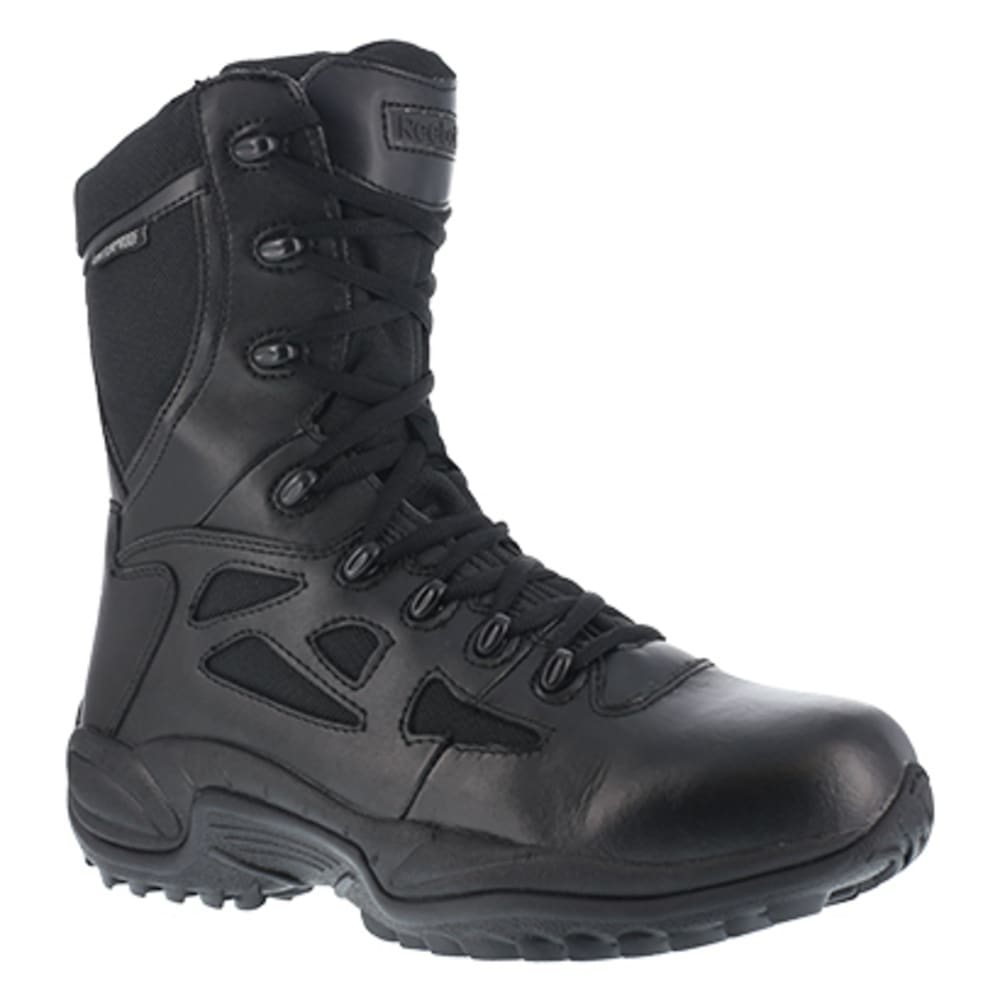 "REEBOK WORK Men's Rapid Response RB Soft Toe Stealth 8"" Waterproof W/ Side Zipper Boot, Black - BLACK"