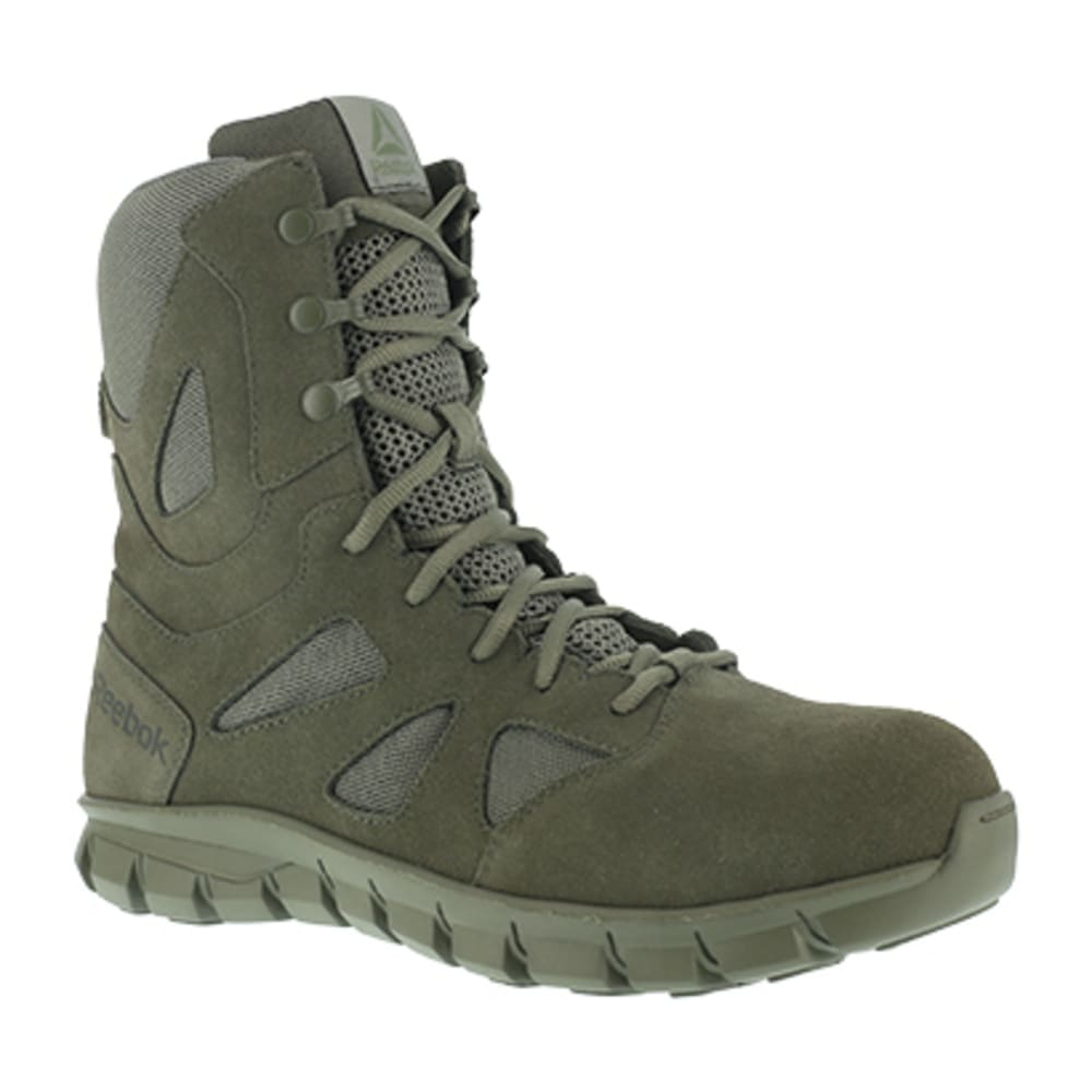 "REEBOK WORK Men's Sublite Cushion Tactical Composite Toe 8"" W/ Side Zipper Tactical Boot, Sage Green - SAGE GREEN"