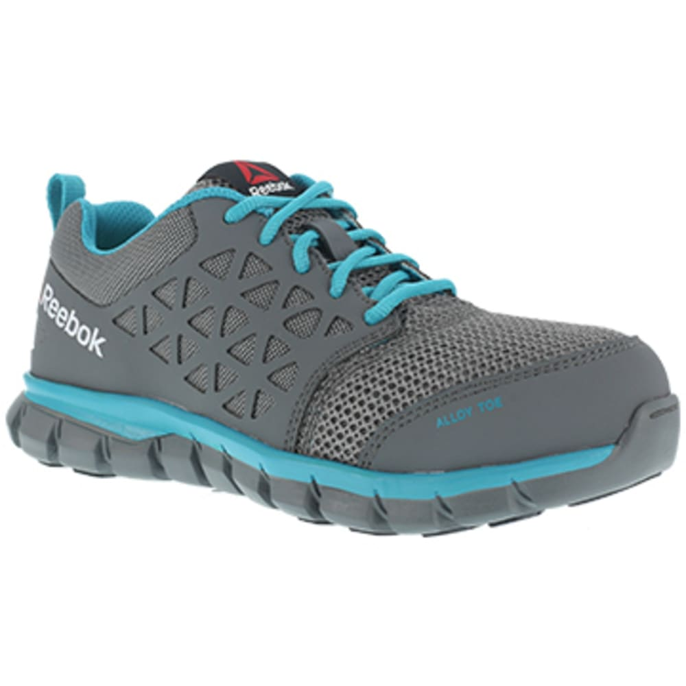 REEBOK WORK Women's Sublite Cushion Work Alloy Toe Athletic Oxford Sneakers, Grey/Turquoise 10.5