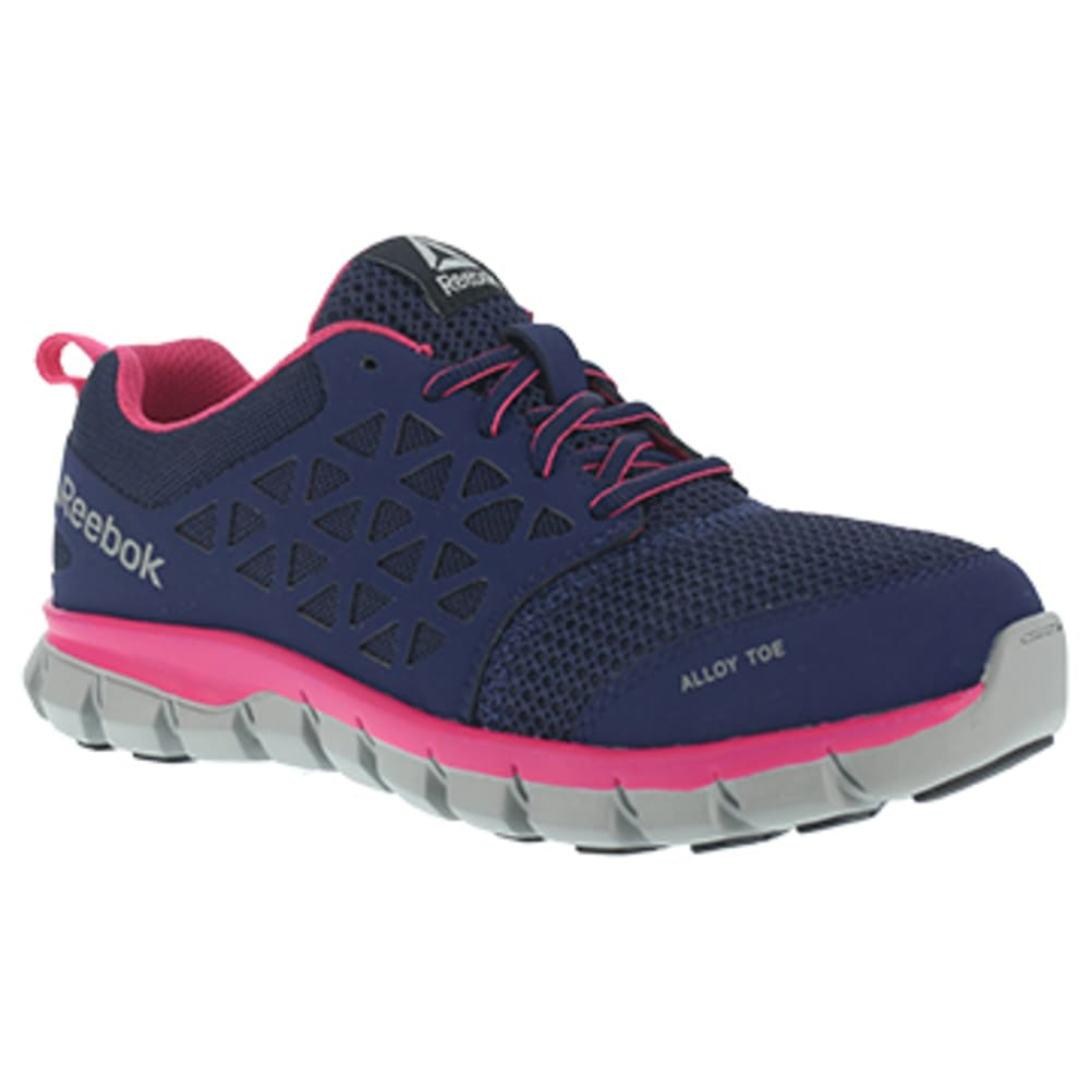 REEBOK WORK Women's Sublite Cushion Work Alloy Toe Athletic Oxford Sneakers, Navy/Pink 7