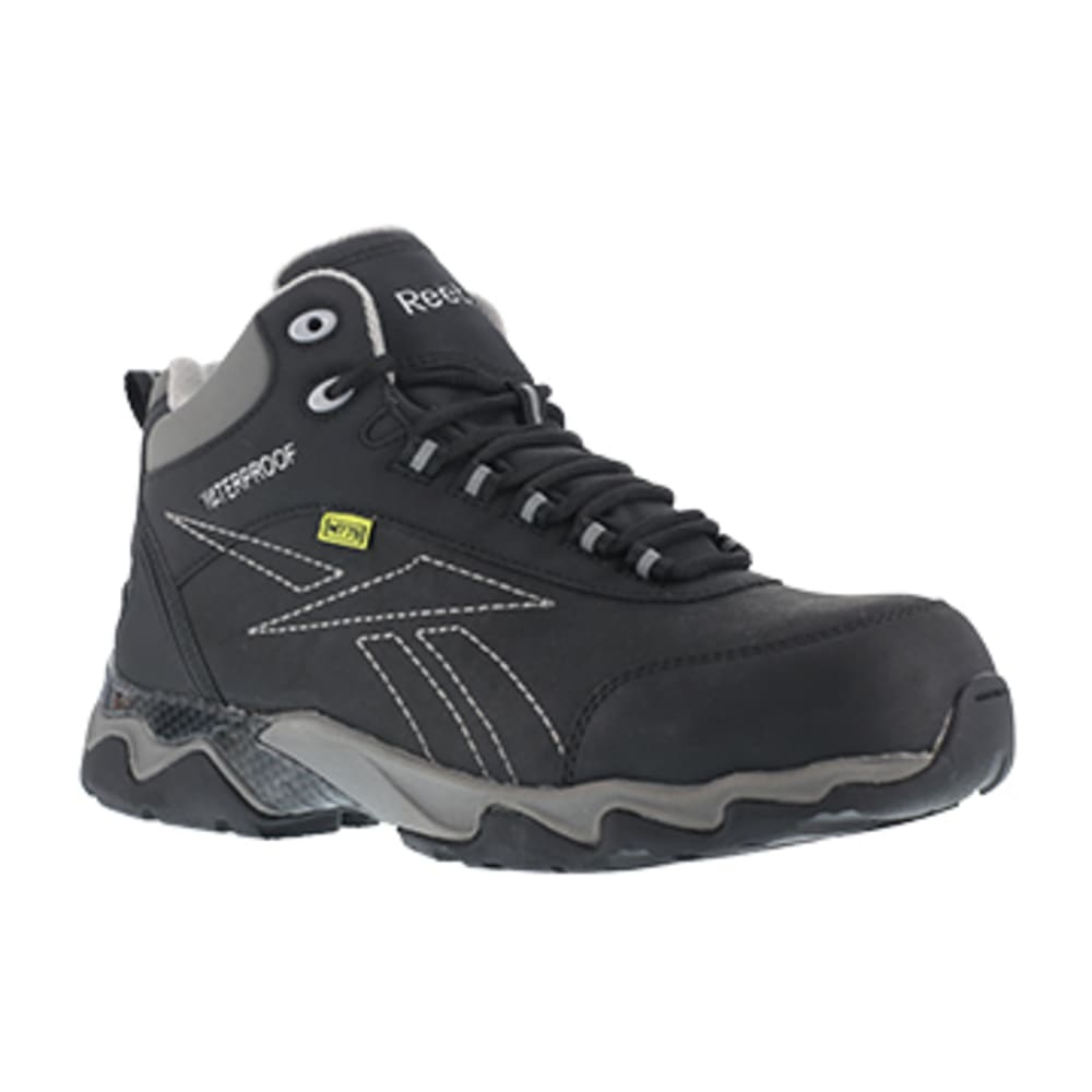 REEBOK WORK Women's Beamer Composite Toe Internal Met Guard Waterproof Athletic Hiker, Black/Grey - BLACK