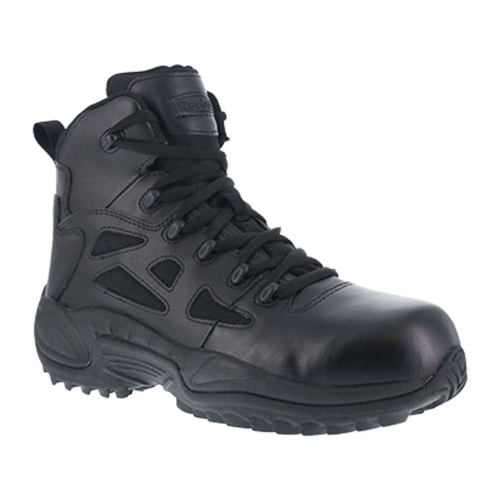 "REEBOK WORK Women's Rapid Response RB Composite Toe Stealth 6"" W/ Side Zip Boot, Black 11"