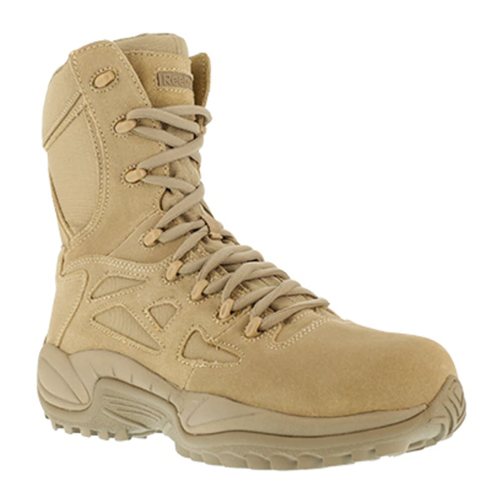 "REEBOK WORK Women's Rapid Response RB Composite Toe Stealth 8"" W/ Side Zipper Boot - DESERT TAN"