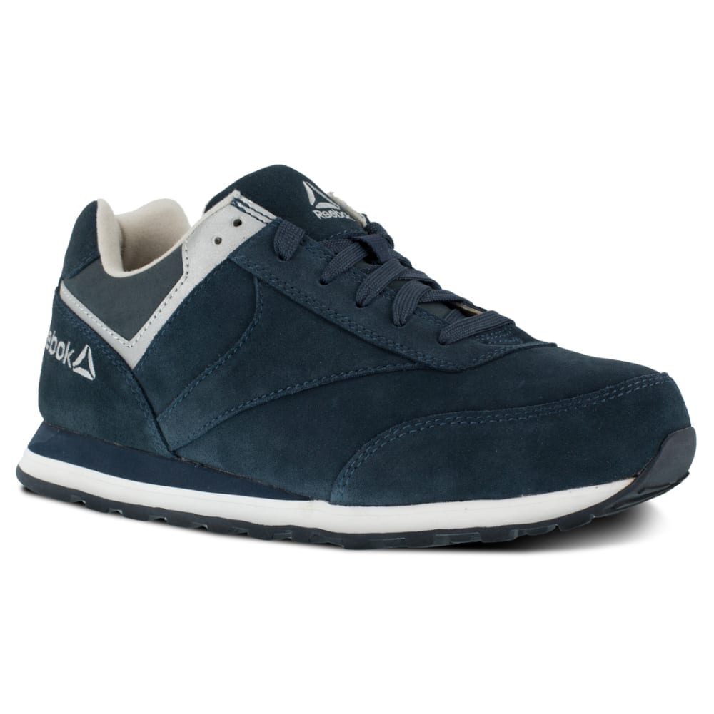 REEBOK WORK Women's Leelap Steel Toe Suede Leather Retro Jogger Oxford Sneakers, Navy Blue - NAVY