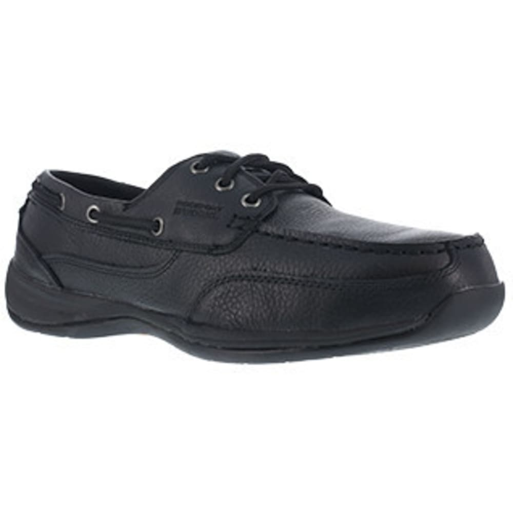 ROCKPORT WORKS Men's Sailing Club 3 Eye Tie Steel Toe Boat Shoe, Black 6