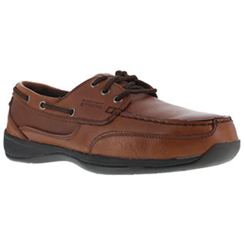 ROCKPORT WORKS Men's Sailing Club 3 Eye Tie Steel Toe Boat Shoe, Dark Brown 8.5