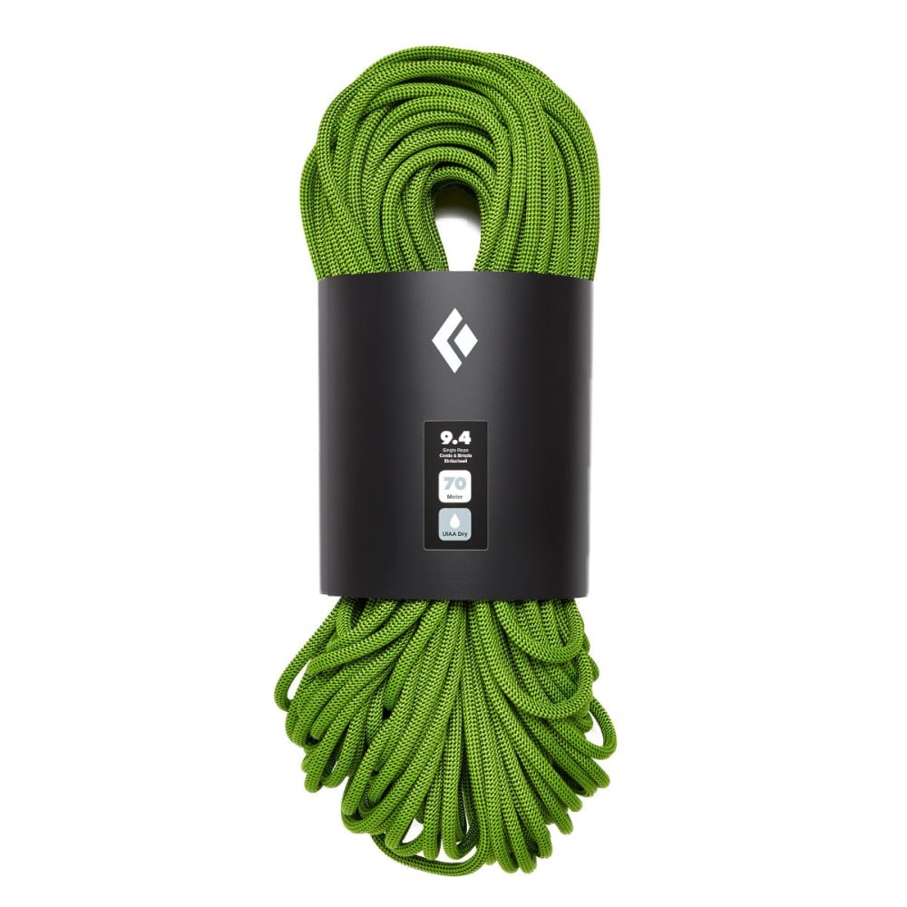 BLACK DIAMOND 9.4 Dry 70m Climbing Rope - ENVY GREEN