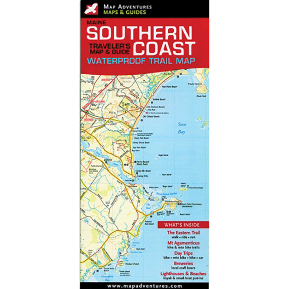 MAP ADVENTURES Maine Southern Coast Traveler's Map & Guide - NO COLOR