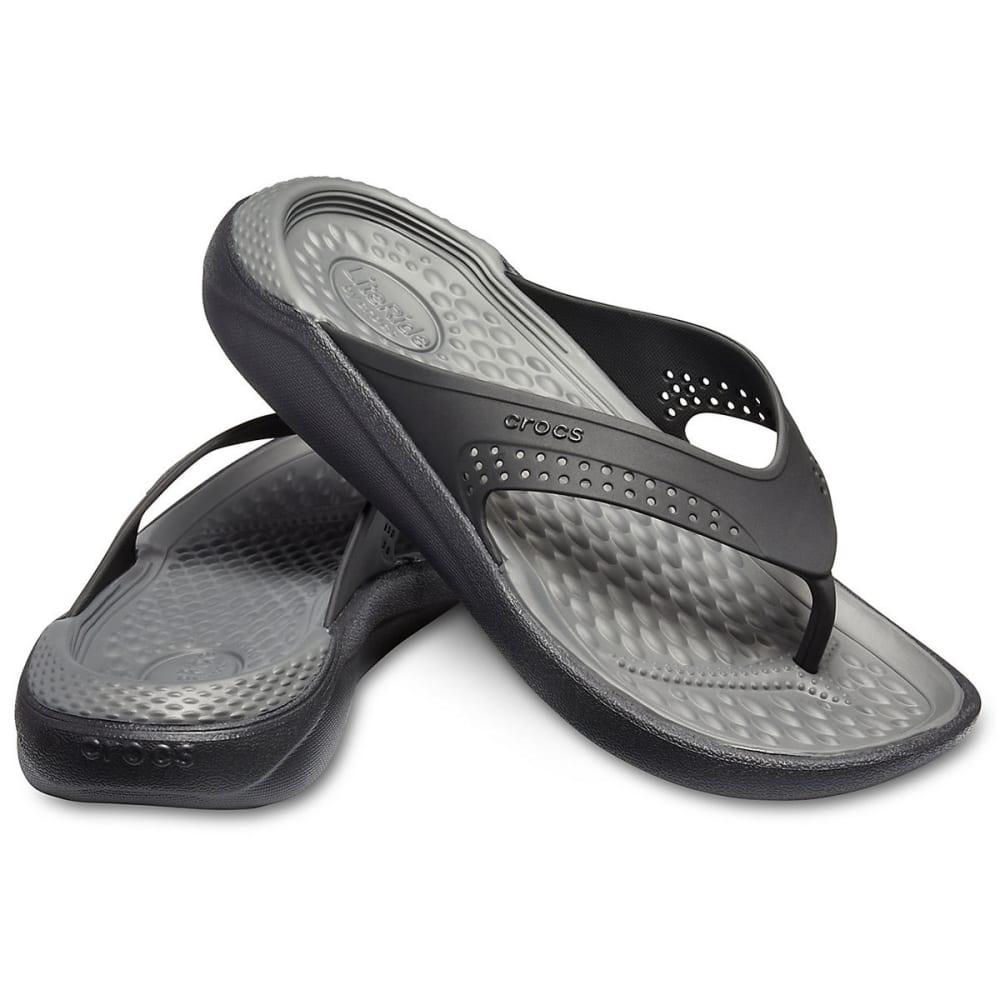 CROCS Unisex LiteRide Flip Sandals - BLACK/SLATE GREY-0DD