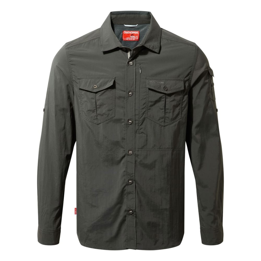 CRAGHOPPERS Men's Insect Shield NosiLife Adventure Long-Sleeve Shirt - BLACK PEPPER-7J8