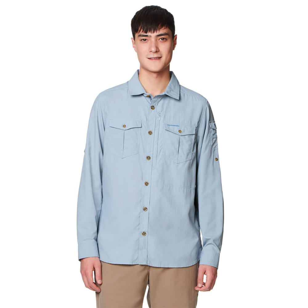 CRAGHOPPERS Men's Insect Shield NosiLife Adventure Long-Sleeve Shirt - FOGLE BLUE-39R