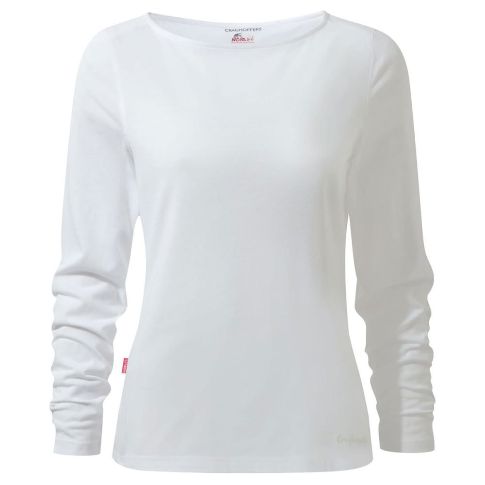 CRAGHOPPERS Women's NosiLife Erin Long Sleeved Tee Shirt - OPTIC WHITE-3ER