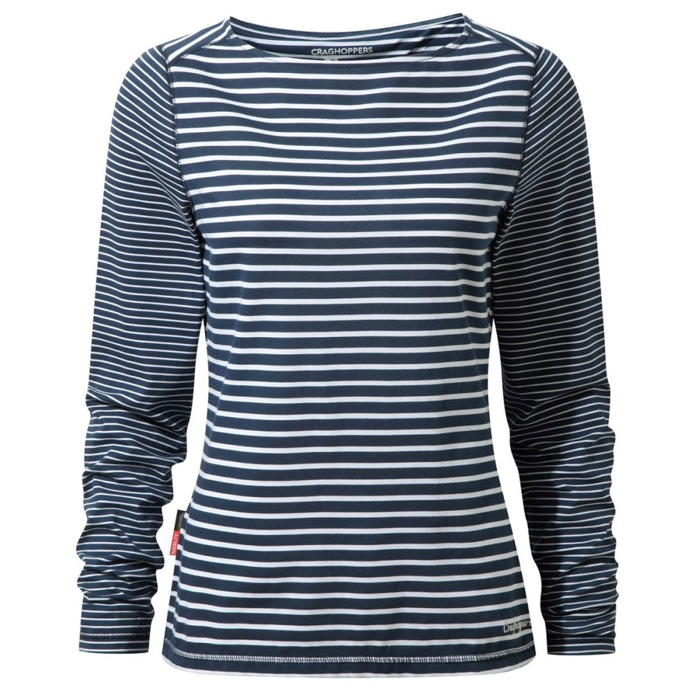 CRAGHOPPERS Women's NosiLife Erin Long Sleeved Tee Shirt - NGHT BLUE STRP-2HP