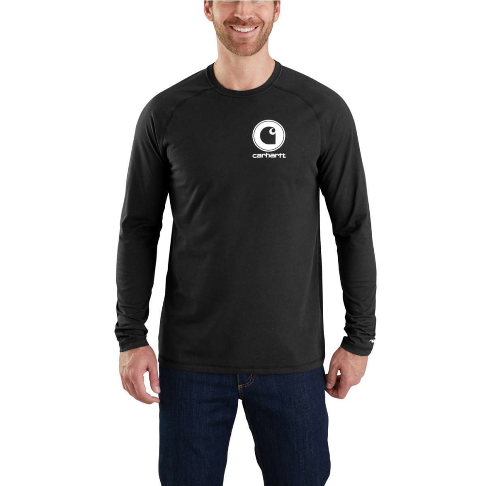 CARHARTT Men's Force Delmont Graphic Long-Sleeve Tee - BLACK