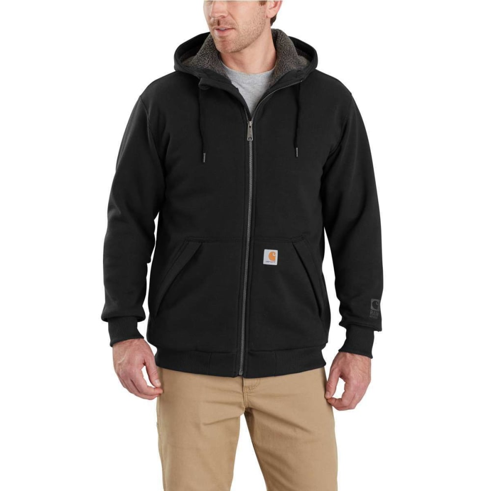 CARHARTT Men's Rain Defender Rockland Sherpa-Lined Full-Zip Hoodie - 001 BLACK
