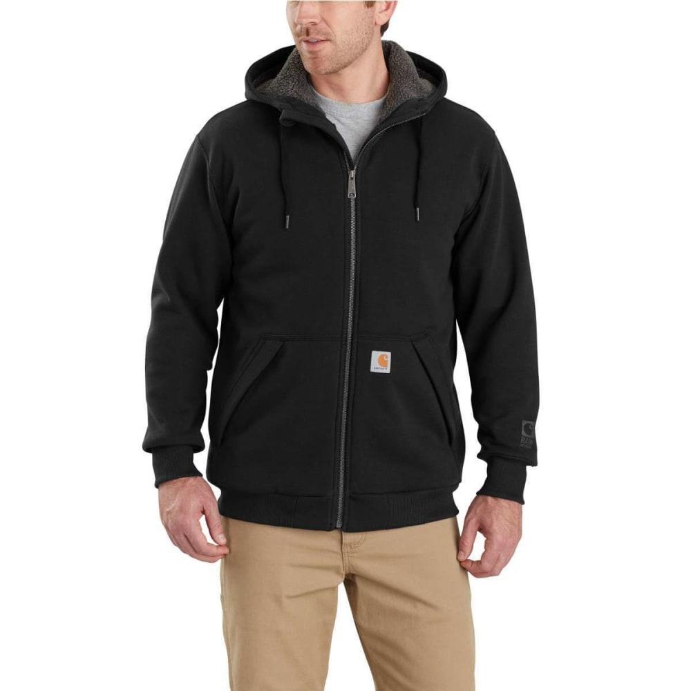 CARHARTT Men's Rain Defender Rockland Sherpa-Lined Full-Zip Hoodie - 001 BLACK