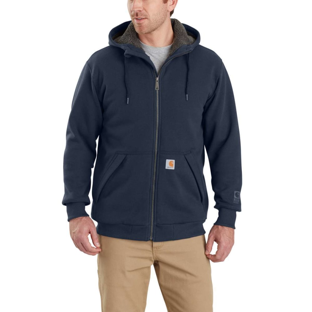 CARHARTT Men's Rain Defender Rockland Sherpa-Lined Full-Zip Hoodie - 472 NEW NAVY