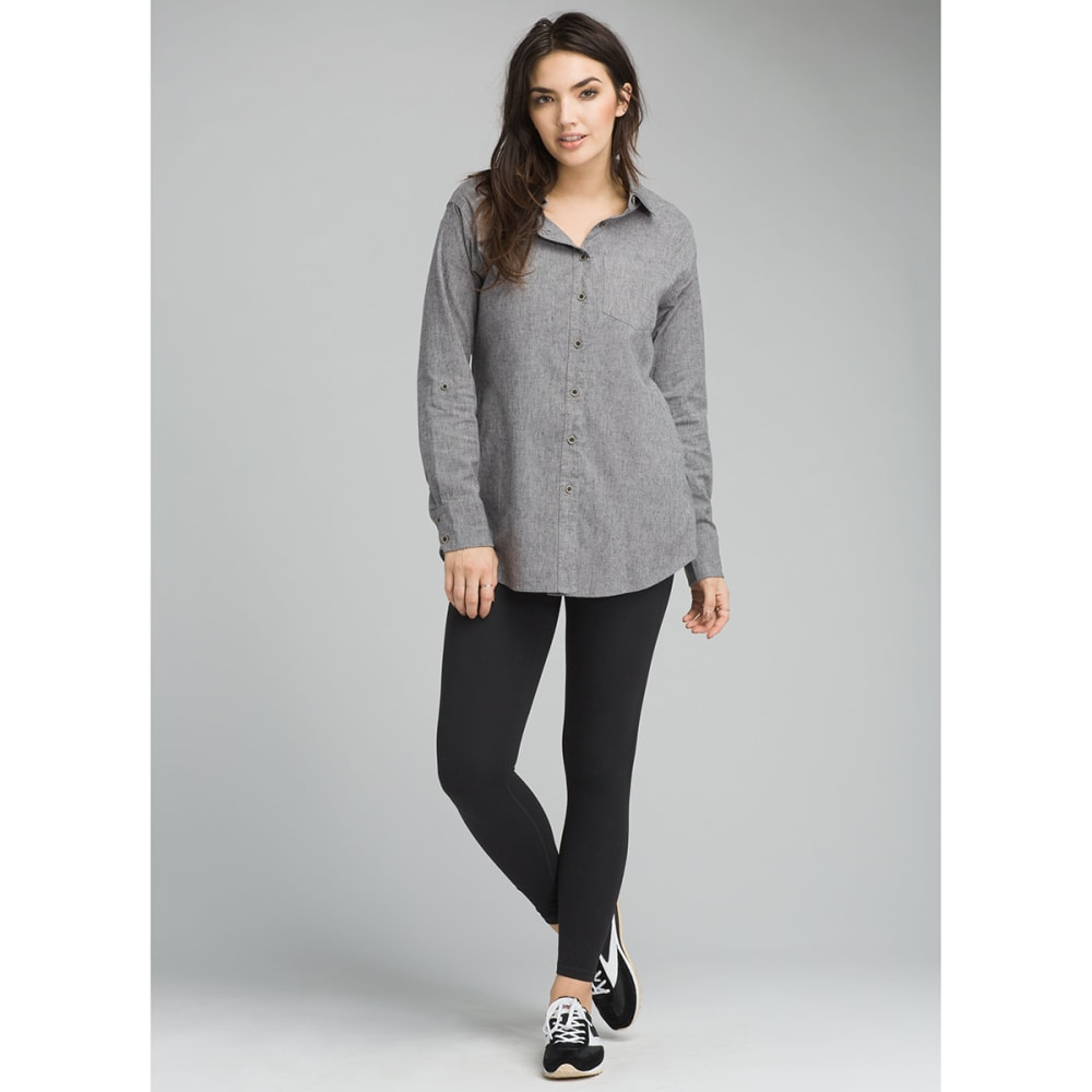 PRANA Womens Aster Long-Sleeve Tunic Top - GRAVEL