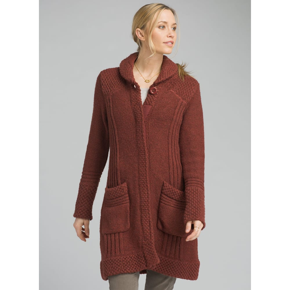 PRANA Womens Elsin Sweater Coat - MULLED WINE