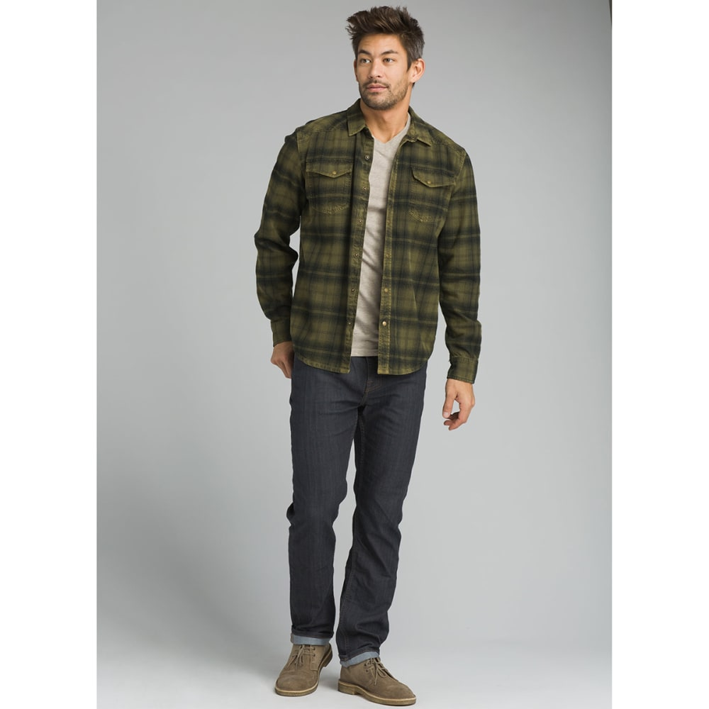 PRANA Men's Horizon Long-Sleeve Flannel Shirt - CARGO GREEN