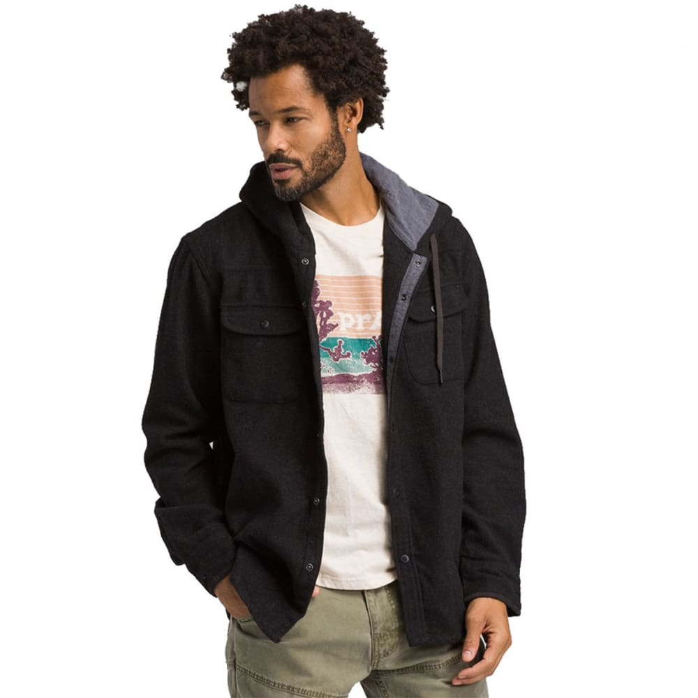 PRANA Men's Bolster Hooded Long-Sleeve Flannel Shirt - BLACK HEATHER