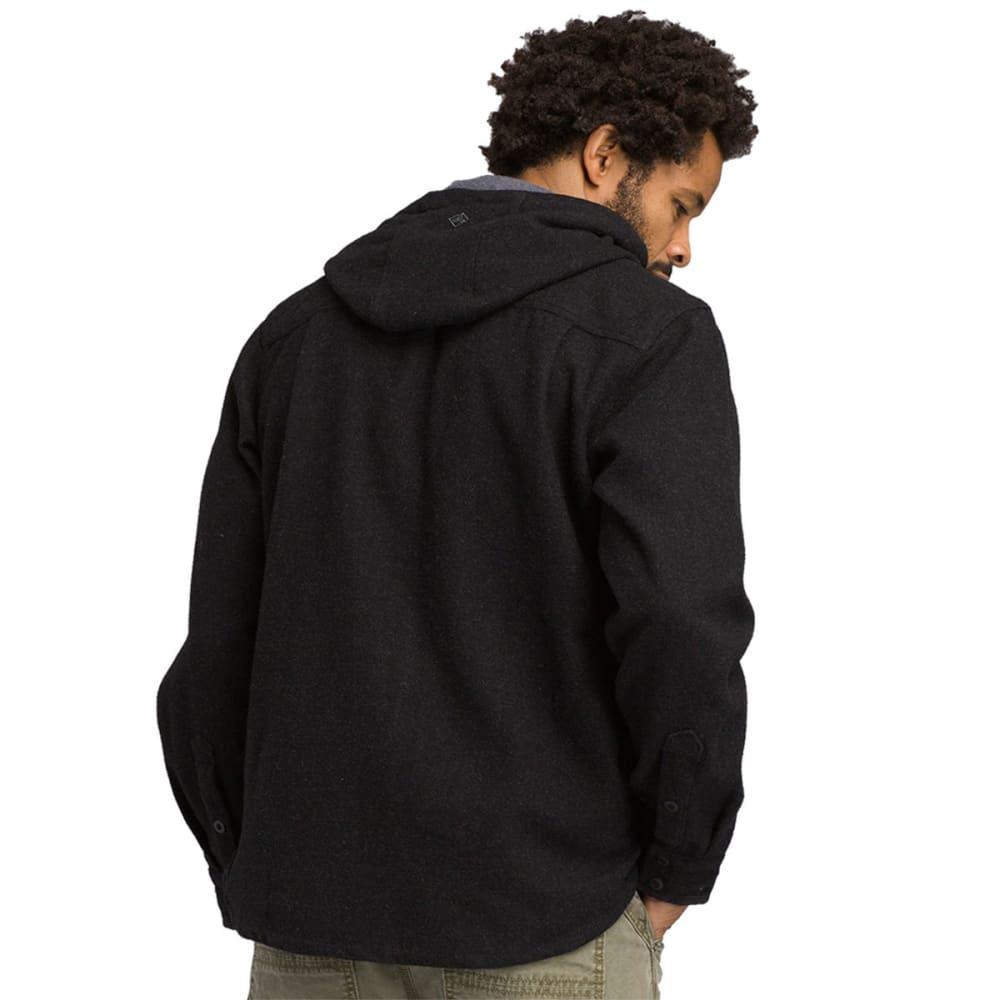 PRANA Men's Bolster Hooded Long-Sleeve Flannel Shirt - BLACK HEATHER